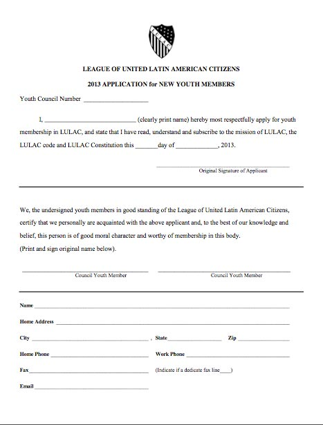 LULAC Youth Council application
